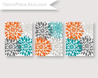 Lovely Orange Turquoise Decor Flower Burst Artwork Floral Wall Art Bedroom Decor  Chevron Monogram Prints Bathroom Decor