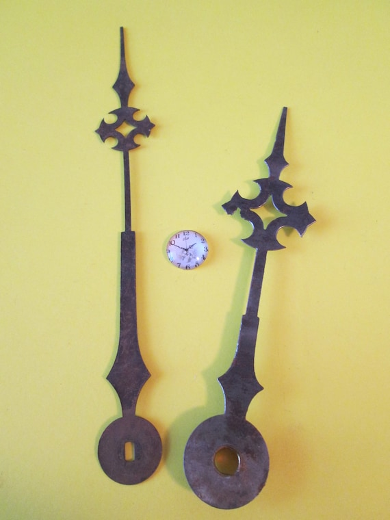 "1 Pair of Large Antique 5 3/4"" and 4 5/8"" Steel Maltese Design Clock Hands for your Clock Projects, Jewelry Making, Steampunk Art"