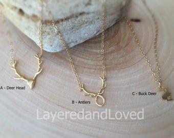 Deer Jewelry / Hunting Necklace / 14k Gold Filled / Sterling Silver / Deer Head Charm / Antler Necklace / Buck Deer Charm