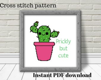 Cactus cross stitch, prickly but cute, digital download, cross stitch pattern