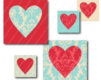 Damask Hearts 1 inch Square Tiles, Digital Collage Sheet, Download and Print Jpeg Images