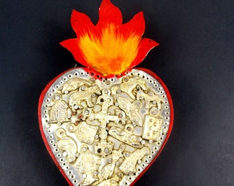 Vintage Sacred Heart with Milagros Art Wall Hanging, Hecho En Mexico, Mexican Folk Art