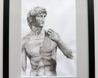 Statue of David by Michelangelo in ink