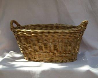 Vintage Wicker rattan 2 handle basket
