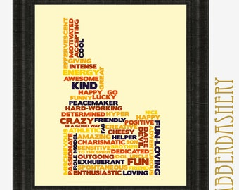 CUSTOMIZED Word Cloud Shape Small Printable Typography up to 11x14