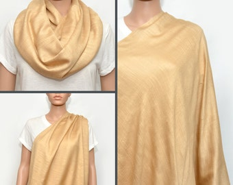 Nursing cover scarf, nursing cover, nursing scarf, infinity scarf, breastfeeding cover, nursing infinity scarf, yellow scarf, beige scarf