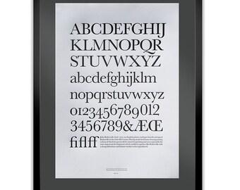 Baskerville Letterpress Typography Print