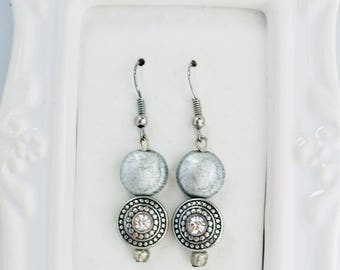 Silver earrings - Silver dangle earrings - Silver beaded earrings