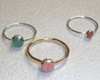 Rhodochrosite Ring -  14k gold filled and sterling from recycled eco friendly sources - Custom Made in your size 6mm Pink