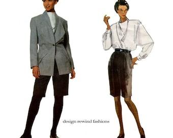 1990s ISSEY MIYAKE Jacket Shorts Shirt Pattern Bermuda Shorts Vogue 2720 Issey Miyake Designer Original Size 12 Womens Sewing Patterns UNCuT