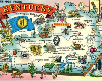 Kentucky State Map Vintage Chrome Greetings Postcard 1973