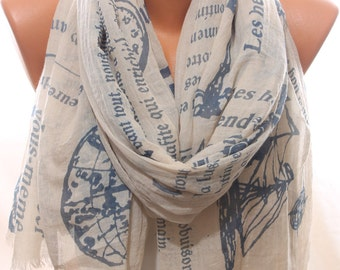 Nautical Spring Summer Trending Beige Sailor Scarf Women's Accessories Scarfs Spring Celebrations Holidays Fashion Gift Ideas For Her Him