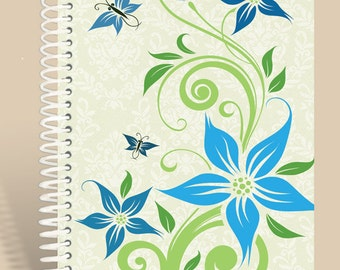 Abstract Blue Flowers Notebook / Personalized Journal / Personalized Notebook