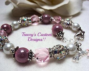 Gorgeous BREAST CANCER SURVIVOR Bracelet - Custom Made Jewelry.