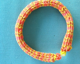 """Butterscotch Stripe, RAINBOW LOOM Bracelet, 6 point Hexfish design.  This is a classy, thick bracelet that will hold it's shape.  Size 7""""."""