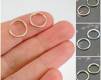 """12mm tiny endless hoop earrings 14k yellow or rose gold filled or 925 sterling silver .5 inch """" 1mm hollow tube hoop earrings small hoops"""
