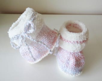 baby white fur boots