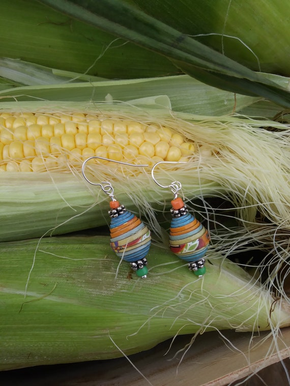 Earrings-summer silver with green and orange Haitian paper beads
