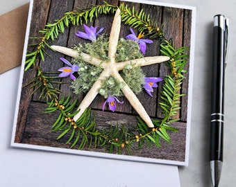 Spring Starfish Mandala Note Card with 5x5 square envelope, blank inside