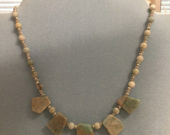 Amazonite Slab Cut Ladder Necklace