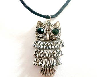 Owl Charm Choker Necklace - Antique Silver Choker Necklace