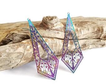 Purple long triangle earrings