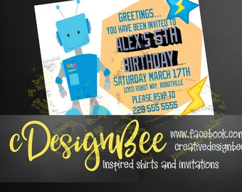 Blue Robot Birthday Party Invitation