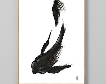 Koi Fish Print, Printable art black and white, Koi Paintings, Hand painted original art, minimal animal art, digital downloads, fish art