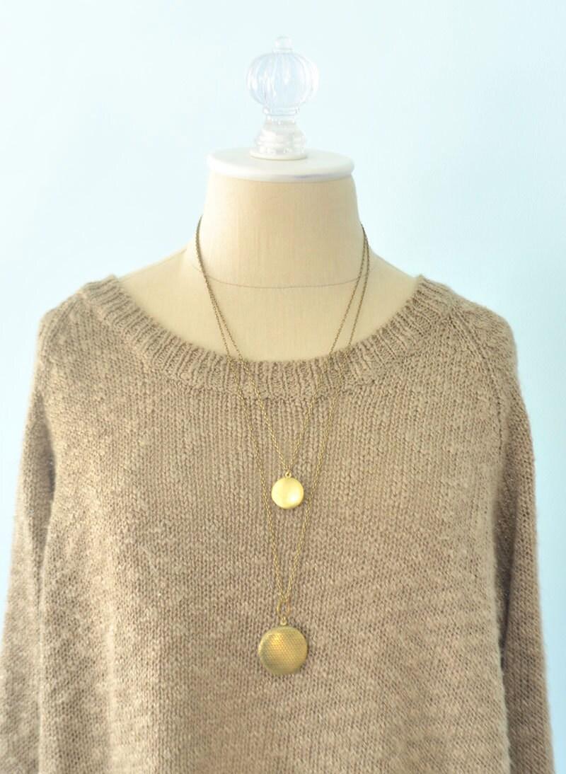 Lockets long locket necklace multi strand necklace brass zoom aloadofball Images