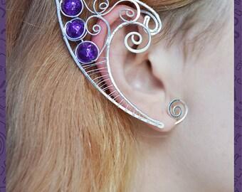 """Elven ears """"Purple fairy"""", elven earcuffs, fairy ear cuffs, elvish jewelry, gift for girl, wire elf ear, summer jewelry, quasarshop"""