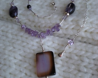 Violet Delight beaded necklace, one of a kind, purple quartz, amethyst, sterling silver, unique jewelry by Grey Girl Designs on Etsy