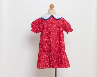 vintage 70s girl's dress floral print peter pan collar