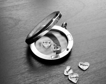 Personalized Heart Floating Charm for Floating Lockets-Add Name, Date, or Word-Handmade-Great Gift Idea