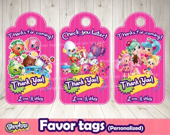SHOPKINS FAVOR TAGS (personalized)- Shopkins printable .Shopkins birthday party.Shopkins labels. Shopkins buffet. Shopkins decoration