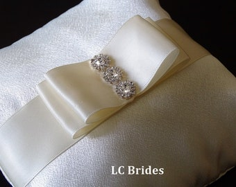 Ivory Ring Bearer Pillow, Ivory Wedding Pillow, Wedding Ring Pillow, Wedding Pillow, Ring Bearer, Ivory, Crystals