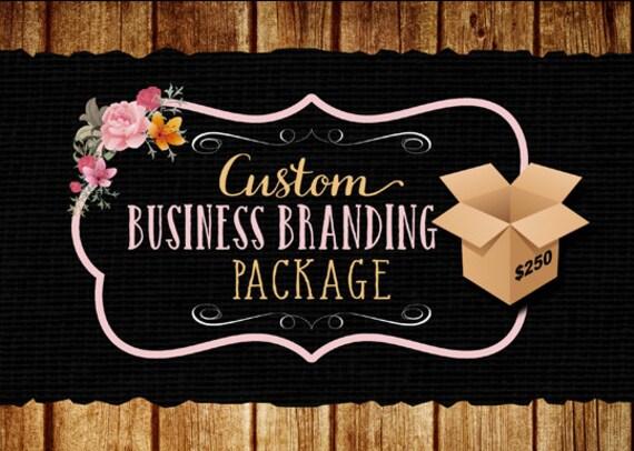 Custom business branding package, logo, web banner, social media headers, business card design, watermark, etsy banner free PSD file