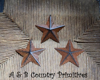 Set of 3 (3.5 inch) Tin Metal Barn Star Ornaments, Primitive Stars, Rustic Stars, Country Craft Supplies, Americana Themed Crafts