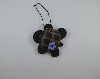 Turtle w/ purple button/accent/ornament/ hand stitched wool