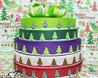 "5/8"" Christmas Tree Grosgrain Ribbon"