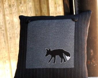 Wool Fox Pillow Black Accent Pewter Grey Pinstripe