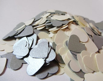 Wedding confetti hearts - Ivory Silver - Paper hearts - 200 die cut hearts - paper heart confetti - weddings