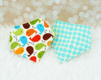 Baby Drool Bibs - Retro Bermuda Birds and Aqua Dots - Set of 2 baby bandana bibs (or choose your own fabric)