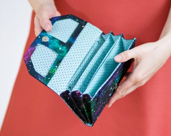 Accordion wallet pattern and tutorial, clutch wallet sewing pattern - instant download - p004