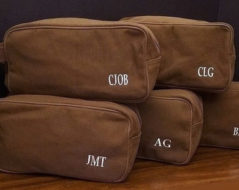 Set of 5 Mens Personalized Canvas Toiletry Bag Dopp Kit Travel Bag Monogrammed Groomsmen Gifts Wedding