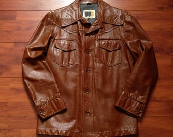 70's William Barry Hustler Brown Leather Jackets - Fit Like Medium - 70s Leather