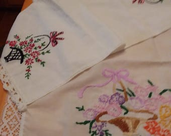 Two hand embroidered table runner or dresser scarfs