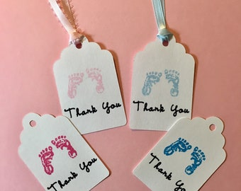 Baby Footprints, Baby Shower Tags, Set of 12, Baby Shower Favors Tags, Gift Tags, Thank you tags, Baby Feet, Baby Girl, Baby Boy, Favor Tags