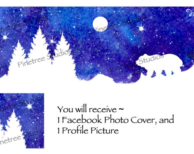 White Silhoutte Bear ~ Facebook Blank Cover Photo and Profile Picture