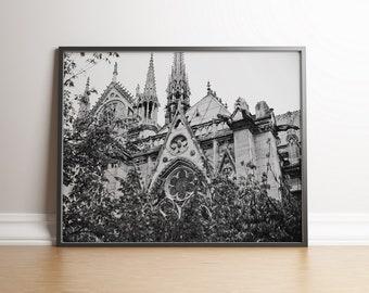 Notre-Dame de Paris, Paris, France / Landscape, Black & White / Wall art decor, print, photo, printable, photography, digital download