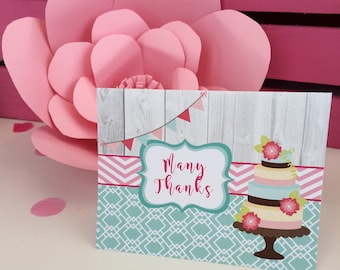 Tea Party Birthday Cake Thank You Note Folded Note Stationery Pink Aqua Bridal Shower